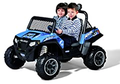 2 speeds: 2.5 - 5 mph (plus reverse) Working horn and Seatbelts Super traction wheels Off-Road windshield and roll bar Large adjustable bucket seats