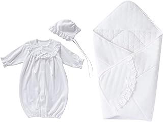 cremé de coco 3点セット 綿 レース セレモニー ドレス [ツーウェイオール/帽子/アフガン] 新生児 赤ちゃん [オールシーズン使用可] 日本製 50-70cm(オフホワイト)