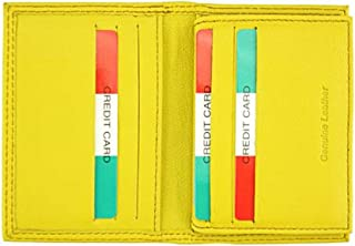 Made in Italy - Porta carte di credito da uomo in pelle 16x10.5 cm - ELIA - Prodotto Artigianale Fiorentino (Giallo)