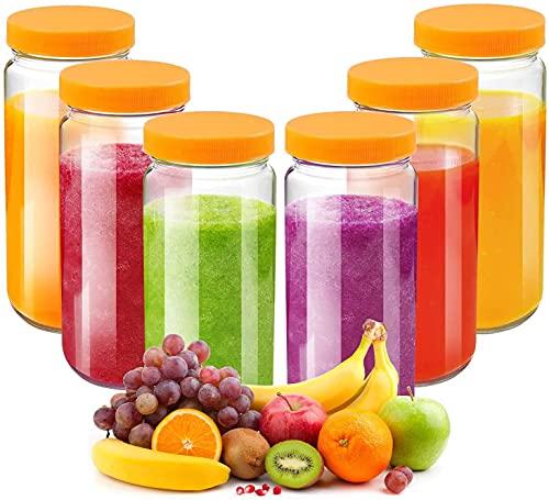 Glass Juicing Bottle Drinking Jars 6 Pack, Bedoo 16 oz Travel Glass Juice Bottles Leak Proof with Plastic Airtight Lids, Dishwasher Safe, Reusable Glass Bottles for Juicing ,Smoothies,Milk,Kombucha