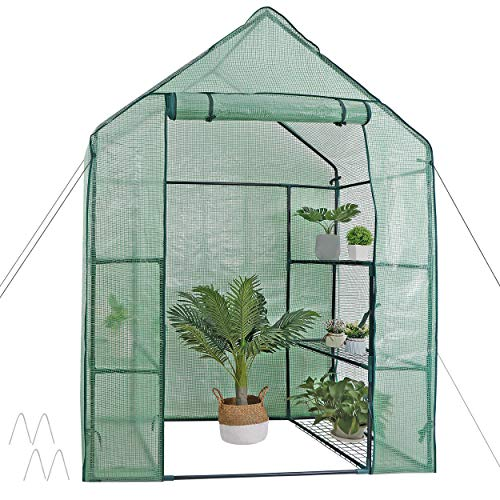 6-Shelves PVC Cover Walk In Greenhouse Small Plants Steel Frame Spacious Garden