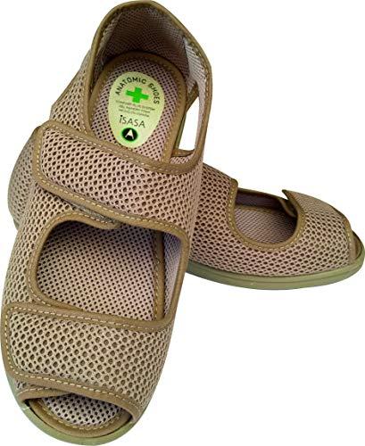 Zapatilla de señora Isasa Crimea Tostado, de Farmacia, Doble Velcro Semi Cerrada Fabricada en Rejilla Farmacia Tostada con Dos velcros para un Ajuste idoneo para pies delicados (Numeric_37)