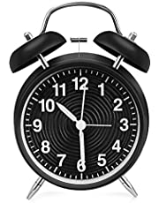 FONSO 目覚まし時計 おしゃれ 置き時計 アナログ めざまし時計 大音量 起きれる ベルアラーム 卓上 置時計 バックライト付き 連続秒針 卓上用 電池式 起きられる目覚まし時計