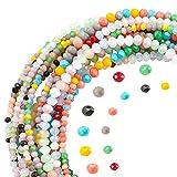 PandaHall Fili di Perline di Vetro Sfaccettate di 7 Colore Imitazione Giada, 2220 pz 2 mm 3 mm Perline Opache Sfaccettate Creazione di Gioielli per Perline Fai da Te, Bracciali, Collane, Orecchini