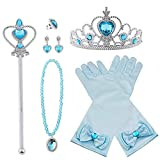 Vicloon Princesa Vestir Accesorios 8Pcs Regalo Conjunto de Belleza Corona Sceptre Collar Pendientes Anillo Guantes para Niña (Azul)
