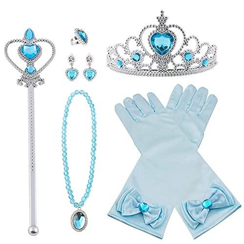 Vicloon Nuovi Costumi da Principessa set di 8 pezzi Dono da Tiara,Guanti,Bacchetta Magica, Anello, Orecchino,Collana da 3 a 9 Anni (Blu)