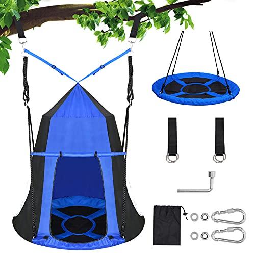 "40"" Kids Hanging Tree Swing Tent.- 360 Rotate-Kids Tree Saucer Swings Seat for Outdoor, Waterproof Portable Indoor Outdoor Use Kids Hanging Tree House Tent .Max Capacity 330LBS (Blue)"