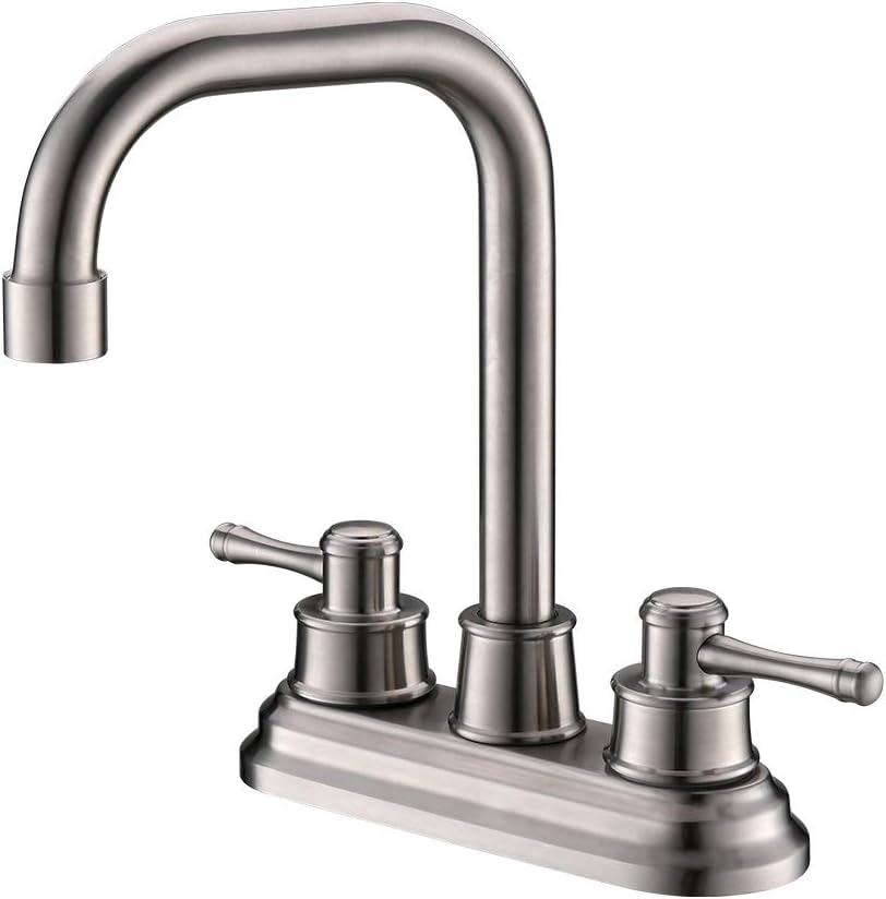 TEEKIA 2 Handle Bathroom Faucet Brushed Nickel, 4 Inch Brushed Nickel Bathroom Sink Faucet Centerset, RV Bathroom Faucet 3 Hole, Brushed Nickel Bathroom Faucet