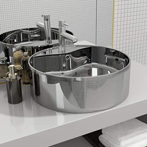 Festnight Keramik Waschbecken Aufsatzwaschbecken Handwaschbecken | Waschschale |Waschtisch mit ?berlauf | Rund 46,5 x 15,5 cm Silbern
