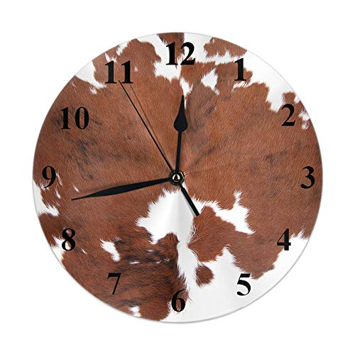 Moslion Cowhide Clock Leopard Farm Animal Tri Color Brown Cow Round Wall Clock Silent Non Ticking Rustic Home Decor 10 Inch for Kitchen Bathroom Office