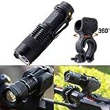 Koly Luz para Bicicleta 360° Mount Clip - Potente Q5 LED Faro Trasero Bici - Muy Luminoso y Fácil de Instalar Luces Máxima Seguridad Ciclismo aleación aluminio Flashlight (Negro)