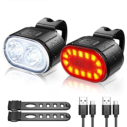 Bike Lights Front and Back, Te-Rich Rechargeable Front Bicycle Light & Rear...
