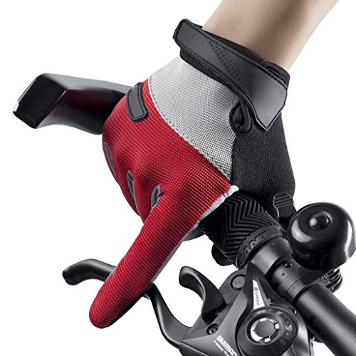 Cycling Gloves,Touch Screen Anti-Slip Riding Gloves, for Junior Boy Girl Youth,Outdoor Sports Road Mountain Bike, Gel Padding Bicycle Full Finger Gloves Pair,Red-XL