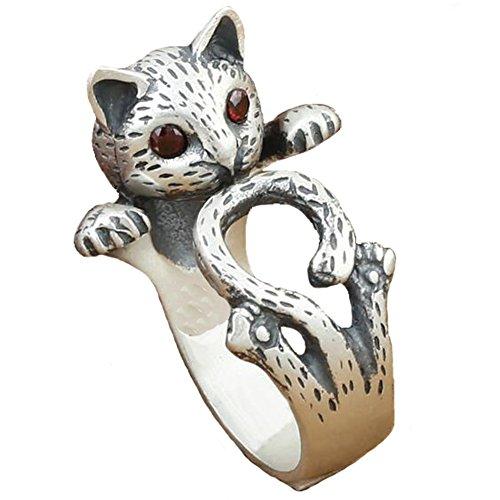 Anday - Anillo de estilo retro punk, plata del Tíbet, ajustable, diseño de gato con ojos de rubí de imitación