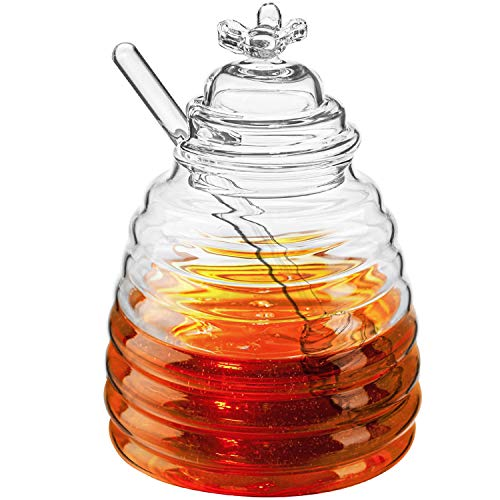 Hedume Honey Jar with Dipper and Lid, Honey Bee Pot, 17oz Glass Beehive Honey Pot for Home Kitchen