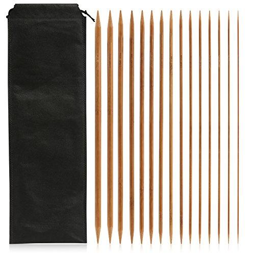 LIHAO 75 x Agujas de Bambú para Tejer Agujas de Punto Doble Afilados Tamaños 2mm - 10mm (35cm)