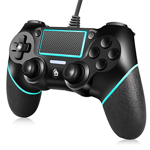 PS4 Controller ORDA Wired Gamepad for Playstation 4/Pro/Slim/PC with Motion Motors,Mini LED Indicator and Anti-Slip Design