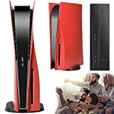 PS5 Console Cover, Hard Shockproof PS5 FacePlates, ABS Anti-Scratch Dustproof Replacement Faceplate Shell for Playstation 5 Console, with Extra Black Console Sticker, Red (Disc Edition).