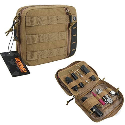 EXCELLENT ELITE SPANKER Molle Admin Pouch Tactical EDC Tool Pouch Military Nylon Holder Modular Utility Organizer Bag(Coyote Brown)