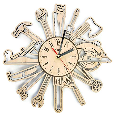 Tools Сarpenter Silent Wood Wall Clock - Original Home Garage Office Living Room Bedroom Kitchen Decor - Best Gift For Friends Partners Father Husband Men - Unique Wall Art Design - Size 12 Inch