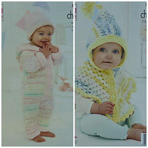 Koning Cole 5466 Breien Patroon Babies Alles in een, Hoed en Poncho in Comfort Cheeky Chunky