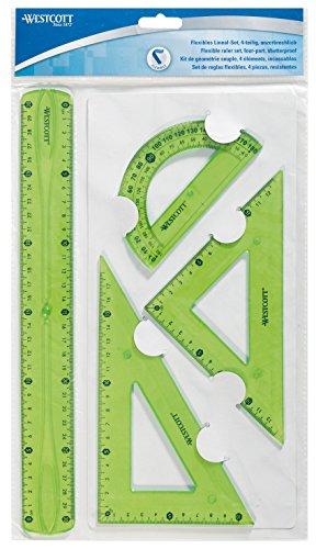 Westcott 1030200flexible regla Set, 4piezas, plástico de 3colores surtidos