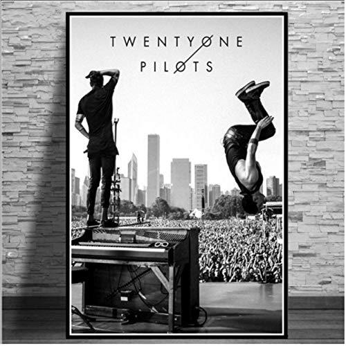 Hanyyj Póster Twenty One Pilots Rock Music Band Stars Poster Arte De La Pared Pintura Moderna Cuadros De Pared para Sala De Estar 50 × 70 Cm Sin Marco