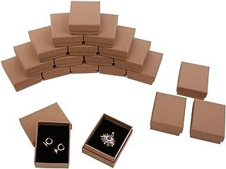 シンプル クラフト カラー ギフト ボックス 20個セット スポンジ内蔵 アクセサリー 指輪 ピアス ラッピング 箱 長方形 贈答