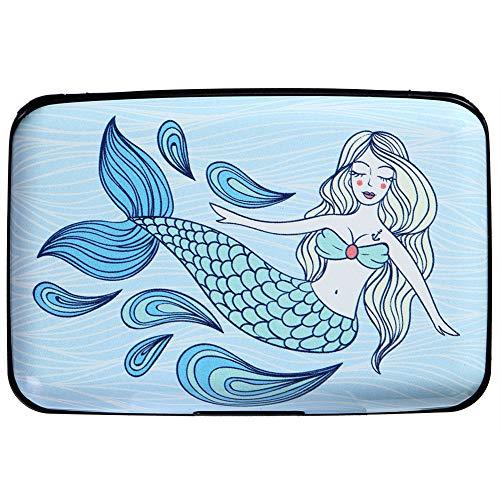 Aluminum RFID Blocking Armor Wallet Credit Card Holder Metal Business Card Case (Ocean Cute Mermaid)
