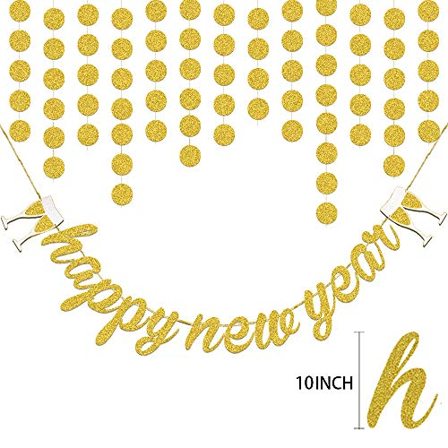 HOWAF Nochevieja 2021 decoración de año Fiestas, Banderinas Feliz Año Happy New Year Pancartas y Guirnalda de Papel Puntos de Circulo Decoraciones de Colgante para Fiesta de Víspera de Año