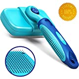 CleanHouse Pets Cat and Dog Hair Brush - No More Shedding | Easy Self Cleaning Button! Perfect for Medium to Large Animals. Pro Brush for Dogs and Cats that Shed - Removes Hair, Mats, Cleans and Desheds - Blue