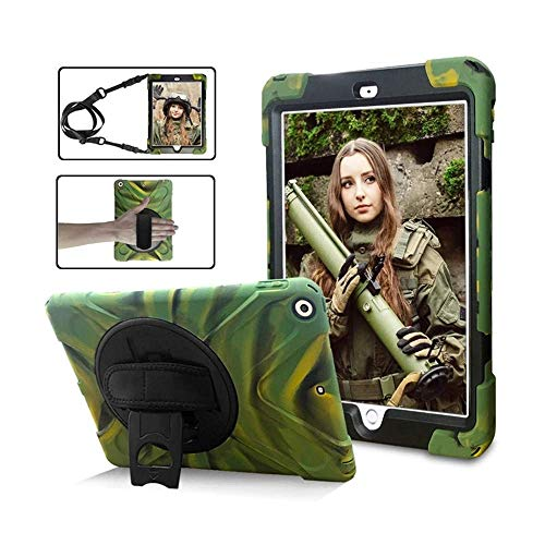 Jennyfly iPad Kids Case Air 3 10.5, Shockproof Durable 3-Layer Protective Case with Kickstand/Adjustable Hand Strap/Shoulder Strap/Pencil Holder for 2017/2019 iPad 10.5- Camouflage