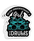 Drumset Percussion Drummer Women Girls Kids Drums Gift Decorations - 4x3 Vinyl Stickers, Laptop Decal, Water Bottle Sticker (Set of 3)