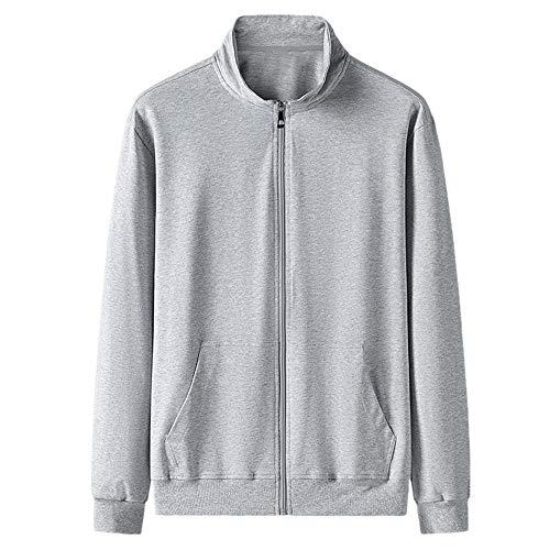 Suéter de algodón puro de los hombres de la primavera y el otoño delgado stand collar cardigan ropa deportiva de los hombres sueltos abrigo de punto superior, Gris 2, XL
