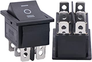 Twidec/2Pcs AC 20A/125V 16A/250V DPDT 6 Pins 3 Position ON/Off/ON Car Boat Black Rocker Switch Toggle(Quality Assurance for 1 Years)KCD2-203