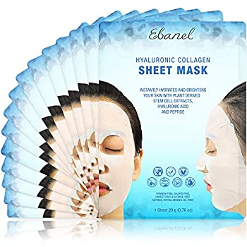 Ebanel 15 Pack Collagen Face Mask Instant Brightening & Hydrating Face Sheet Mask with Aloe Vera Hyaluronic Acid Vitamin C and E Chamomile Anti Aging Face Mask with Hydrolyzed Collagen Peptide