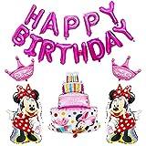 Decoración de la Fiesta de Cumpleaños de Minnie Mouse, Hilloly Mickey Globos para Fiestas de Cumpleaños Decoraciones de Mickey Mouse de Látex Happy Birthday Banner para Niños Fiestas(Rosado)