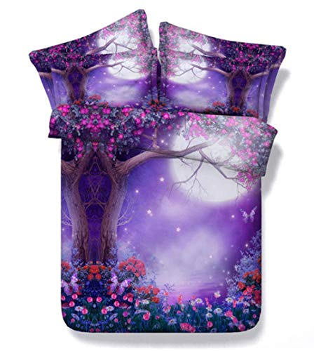 AIKIBELL 3D bedding-digital printing-tree under the moon-bedding set-duvet cover + pillowcase 2-3 bed covers-teenagers-Christmas gift-220×240cm