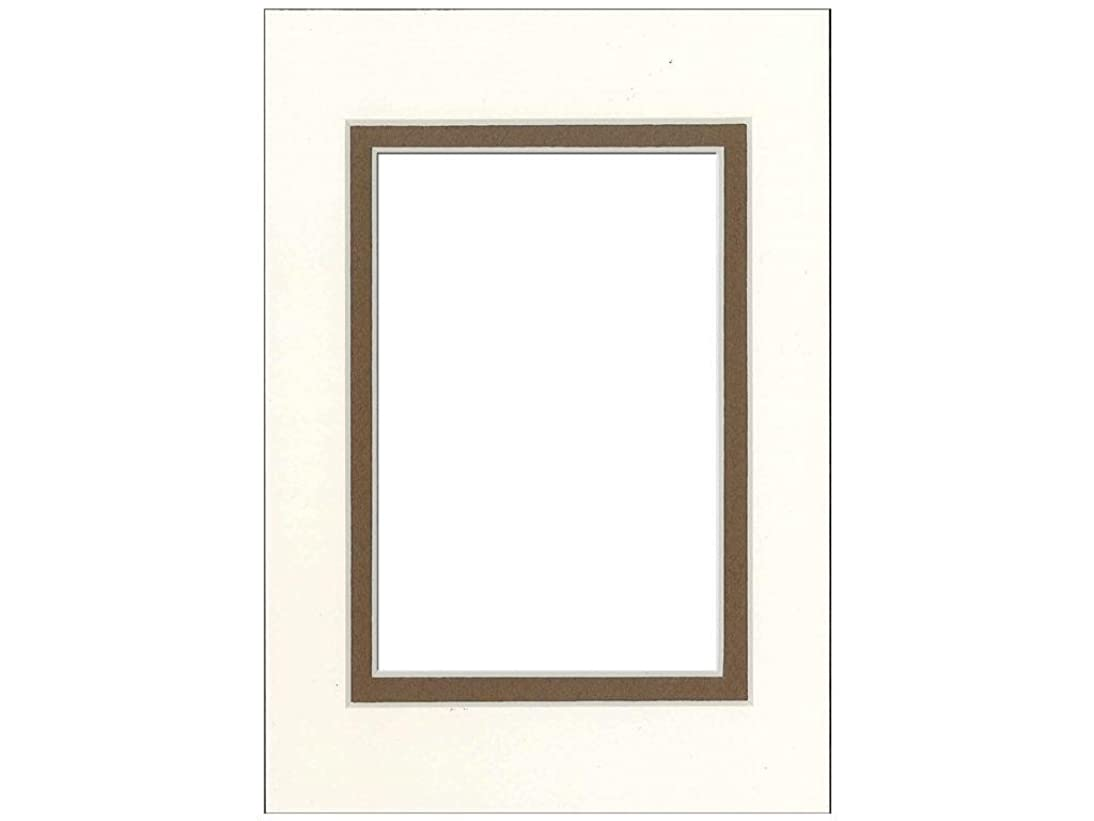 PA Framing, Double Mat, 5 x 7 Inches Frame for 3.5 x 5 Inches Photo Art Size - Cream Core/Antique White Upper and Chestnut Inner Mat