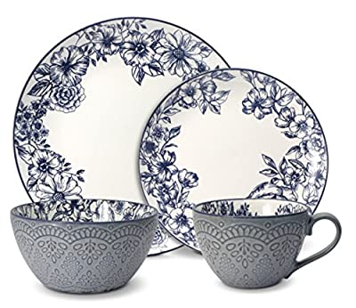 Pfaltzgraff Gabriela Blue 16-Piece Dinnerware Set, Service for 4