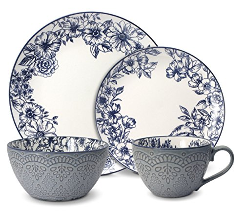 Pfaltzgraff Gabriela Blue 16-Piece Dinnerware Set, Service for 4