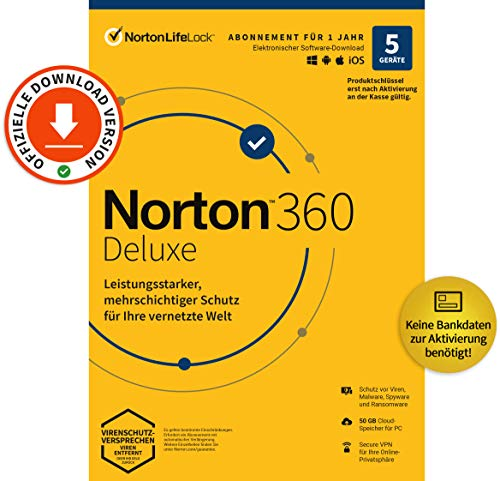 Norton 360 Deluxe 2021 | 5-Geräte | Antivirus | Unlimited Secure VPN | 1 Jahr | Passwort-Manager | PC/Mac/Android/iOS | Aktivierungscode per Email