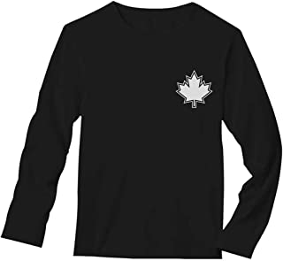 Canada Day Maple Leaf Pocket Print Canadian Patriotic Long Sleeve T-Shirt