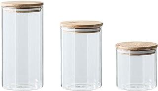 BBGSFDC 3pcs bocaux de Verre Contenants de Stockage hermétiques Cuisine Alimentaire Organisation avec couvercles pour céré...