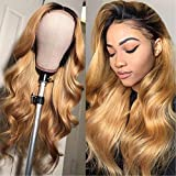Honey Blonde Wig Human Hair Lace Front Wigs Ombre Black To Honey Blonde Two Tone Wig For Women Body Wave Wig With Closure 9A Grade High Density 1B/27 Wig Next Day Delivery 14 Inch