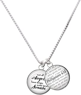 Silvertone Domed Angels Wear Scrubs - Bible Verse Philippians 4:13 Glass Dome Necklace, 18