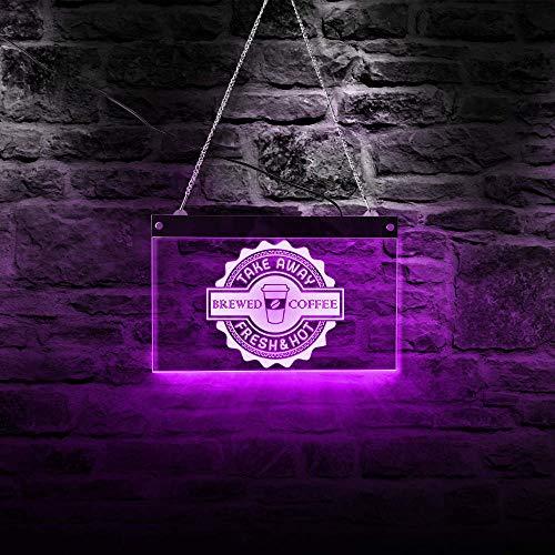 Fertigen Sie Neuheit-Neonlicht geführtes Kaffeestube-Zeichen-Wiederholungs-Wand-Licht gebrühter Kaffee nehmen neues heißes hängendes Wand-Dekor-Kaffee-geöffnetes Zeichen weg