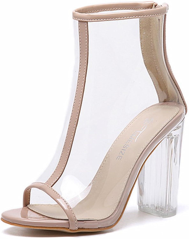 IINFINE Women Chunky Heels Pumps Peep Toe Gladiator Sandals Dress Sandal shoes