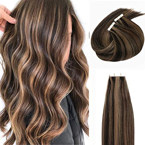 Anrosa Hair Sun-kissed Highlights Tape-in Hair Extensions, Invisible Seamless Double Side Real Remy Human Hair Skin Weft 50g 20pcs, Off Black with Light Auburn Color P1B-30 14 Inch