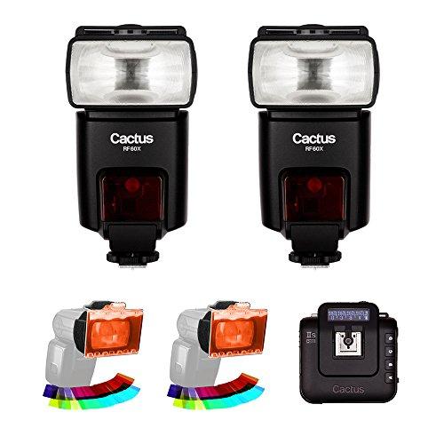 Cactus RF60X Wireless Flash (2-Pices) mit Kaktus Wireless Flash-Transceiver V6Iis & ez-Flip Gel Set (2er Pack) Kit